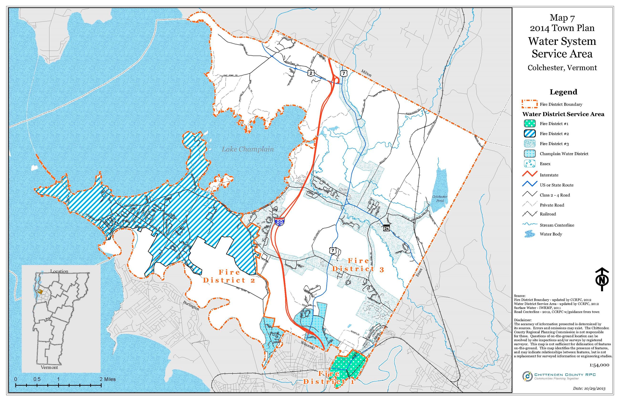 click on map to enlarge. colchester water supply services  colchester vt