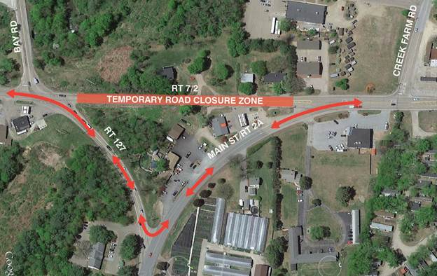 Map of Detour around Rt.7/2 & Rt. 2A Intersection