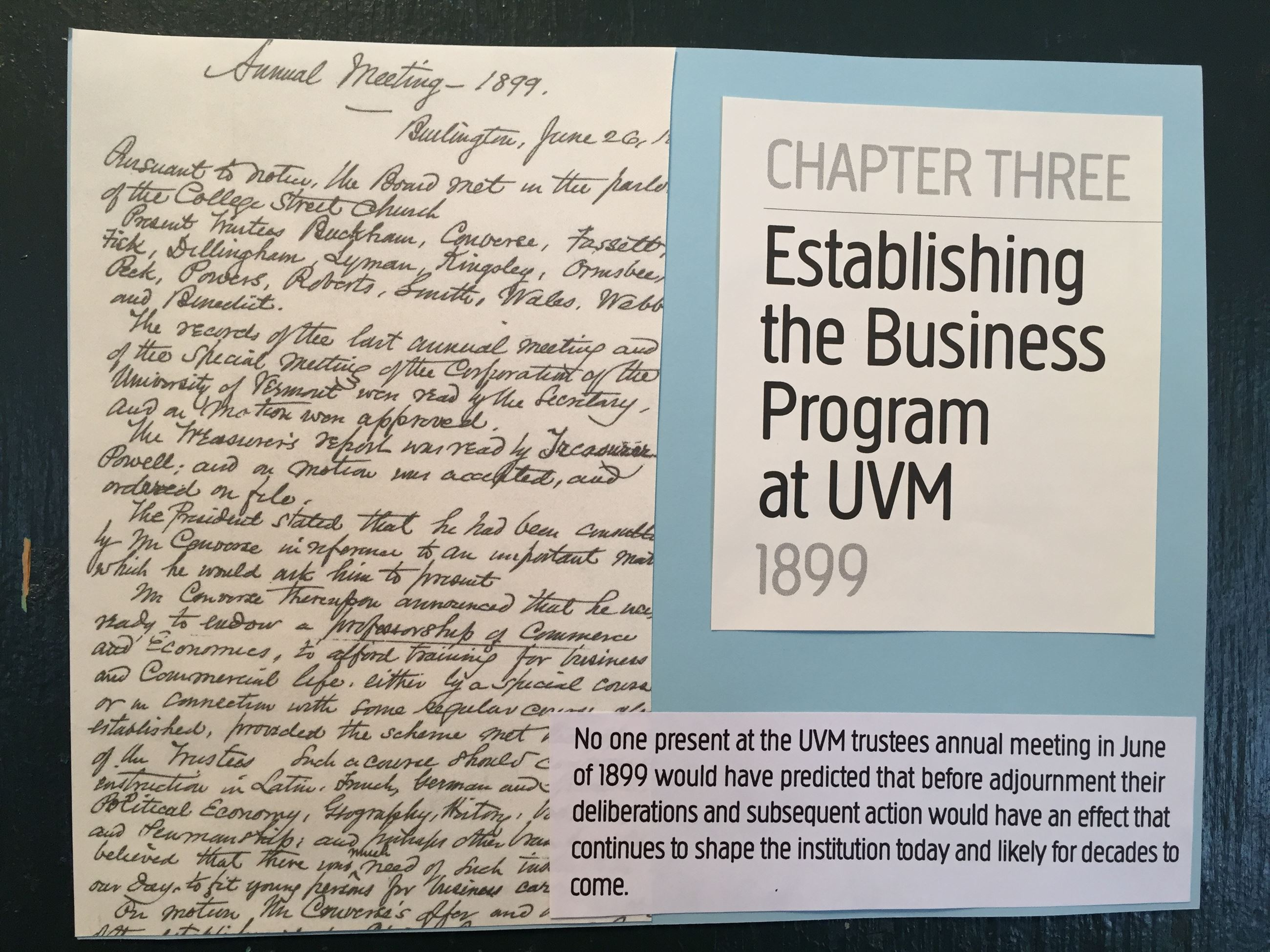 Establishing the Business Program at UVM