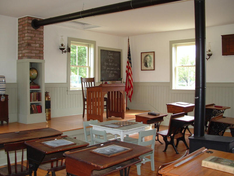 Log School House After Restoration - Inside