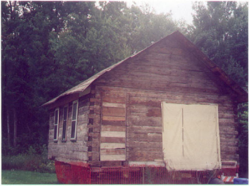 Log School House Before Restoration - Outside