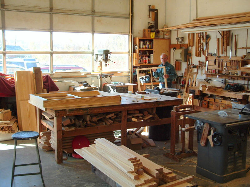 Woodworking Shop for window construction.