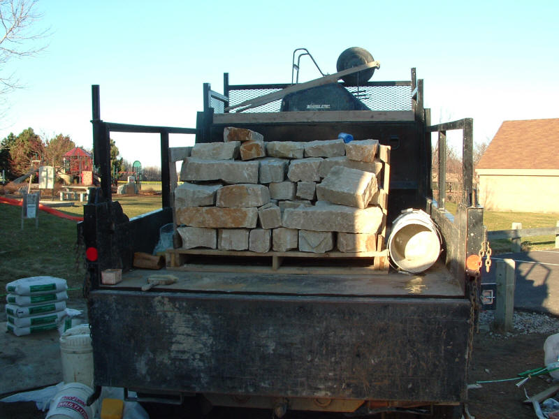 Vermont limestone is delivered for the foundation.