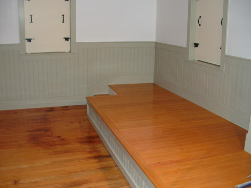 Platform stained to match the original flooring