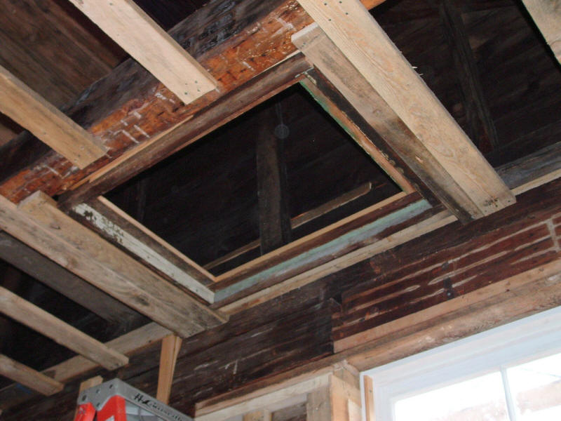 Viewing hatch-way to roof and rafters