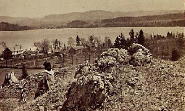Malletts Bay from hill in 1860s