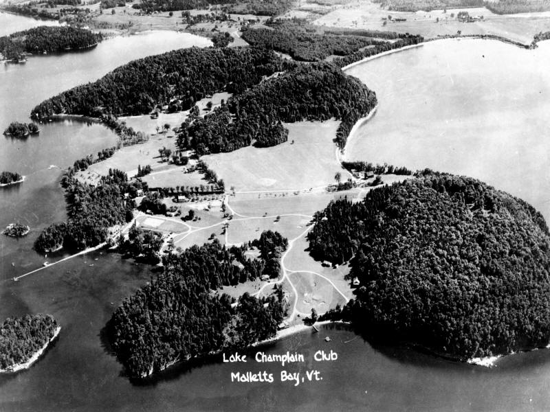 Old aerial of Lake Champlain Club