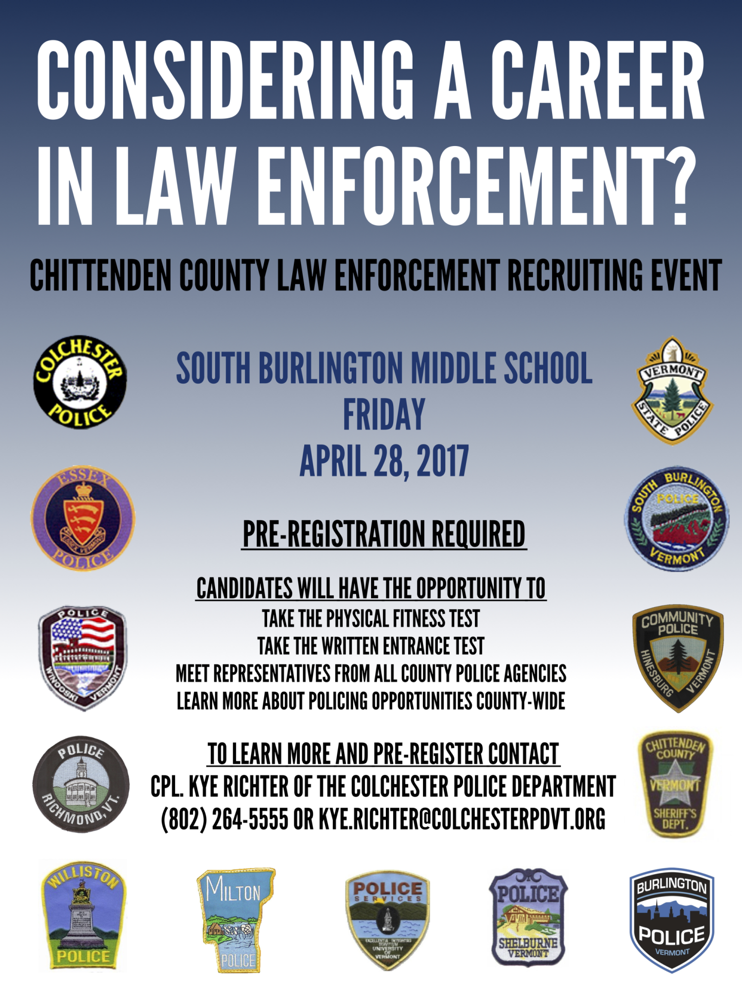 Chittenden County Law Enforcement Recruitment Event
